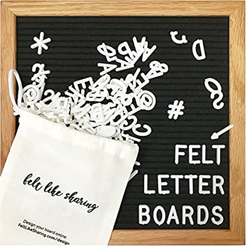 Black Felt Letter Board 10x10 Inches. Changeable Letter Boards Include 300 White Plastic Letters & Oak - Message Board Letter