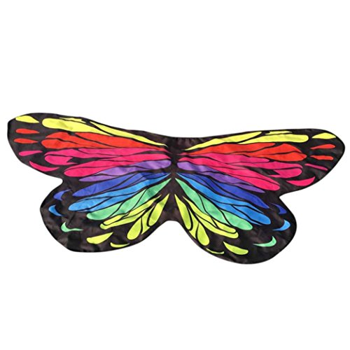 FORESTIME Women Girls Soft Fabric Butterfly Wings Shawl Fairy Ladies Nymph Pixie Costume Accessory (multicolor, one)