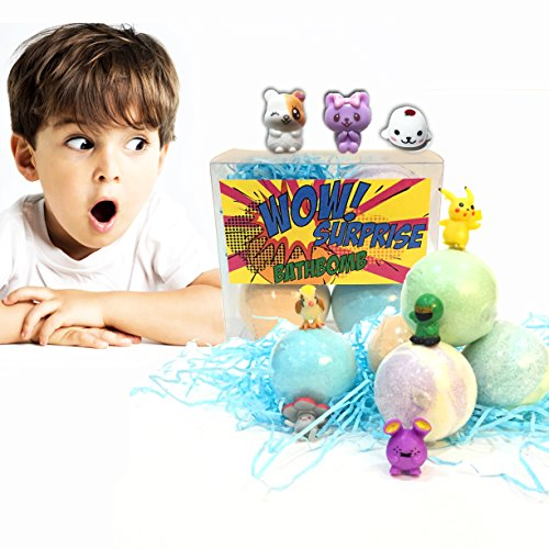 Bath Bombs for Kids with Toys Inside Surprise Gift,Boy&Girl Best Lush Fizzies, 3 Pcs. Set Random Toy in Fun& Fruit (Abc Hooded Towel Set)