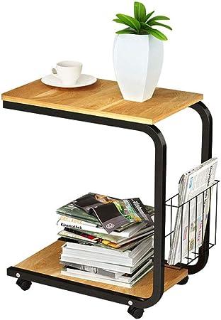 Mesa de Extremo para Muebles de 2 Niveles Soporte para computadora portátil Sofá Cafetera Mesa Auxiliar con Soporte para poleas y Bolsa de Almacenamiento: Amazon.es: Hogar