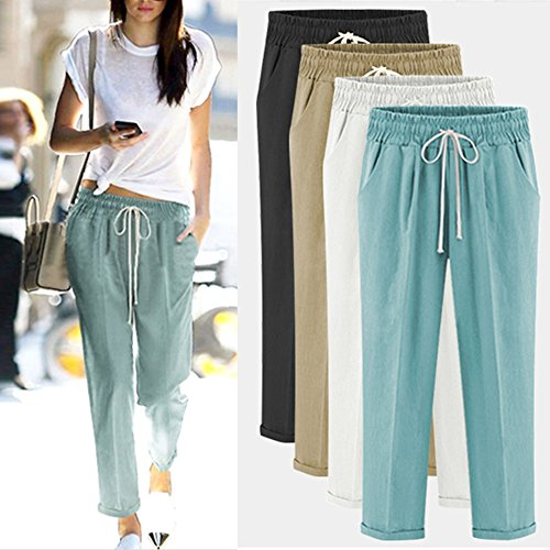 XinDao Women's Elastic Waist Casual Relaxed Fit Capris Pants Cotton Linen Cropped Pants Drawstring Agate Green US XL/Asia 5XL by XinDao (Image #5)
