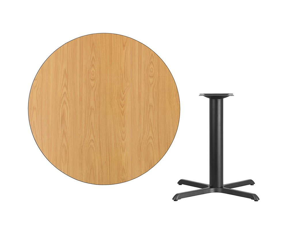 Offex 42'' Round Natural Laminate Table Top with 33'' x 33'' Table Height Base by Offex