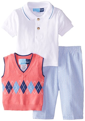 Good Lad Baby-Boys Newborn Argyle Sweater Seersucker Pant Set, Coral, 6-9 Months