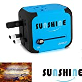 Sunshine Travel Adapter with 2.4A Dual USB Charger & All-in-one Worldwide Chargers for US UK AU EU, Universal AC Socket