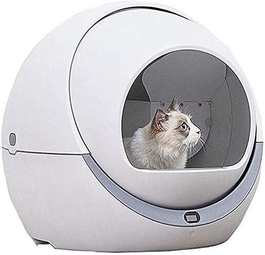 Lonve Caja de Arena para Gatos Inteligente automática, desodorisante de Inodoro para Gatos Totalmente Cerrado a Prueba de Salpicaduras y Caja de Arena eléctrica Limpia de bajo Ruido Blanco: Amazon.es: Hogar