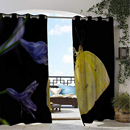 Linhomedecor Outdoor Waterproof Curtain Yellow Butterfly Violet Black Multicolor pergola Grommet Party Curtain 84 by 84 inch