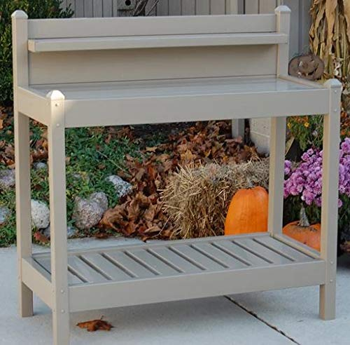 Potting Table-Potting Benches for Outside- Mocha Plastic Vinyl with Two Shelves - If You Love to Garden and to Plant, This is The Perfect Potting Bench for - Bench Mocha Vinyl