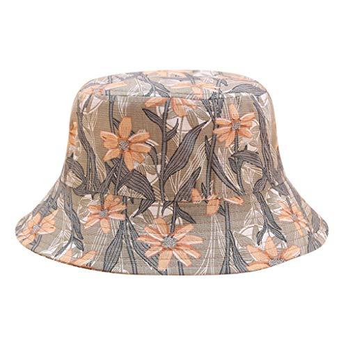 AGUIguo Unisex Summer Outdoor Printing Wearing Summer Visor Folding Fishing Bucket Hat (Khaki)
