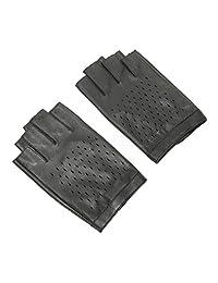 Ambesi Men's Eyelet Half Finger Nappa Leahter Driving Gloves