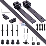 6ft Coffee Color Iron Sliding Barn Wood Door Hardware Track Set I Style w/ Sliding Track + Door Stoppers+ M10 Bolts + Wall Hangers + Rollers + Floor Guide + Anti-jump Disks + Accessories Kit
