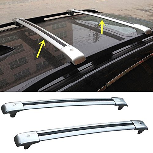 FMtoppeak One Set of 2Pcs Aluminium Alloy Roof Rails Cross Bar Luggage Rack Crossbar for 2014-2018 Jeep Cherokee