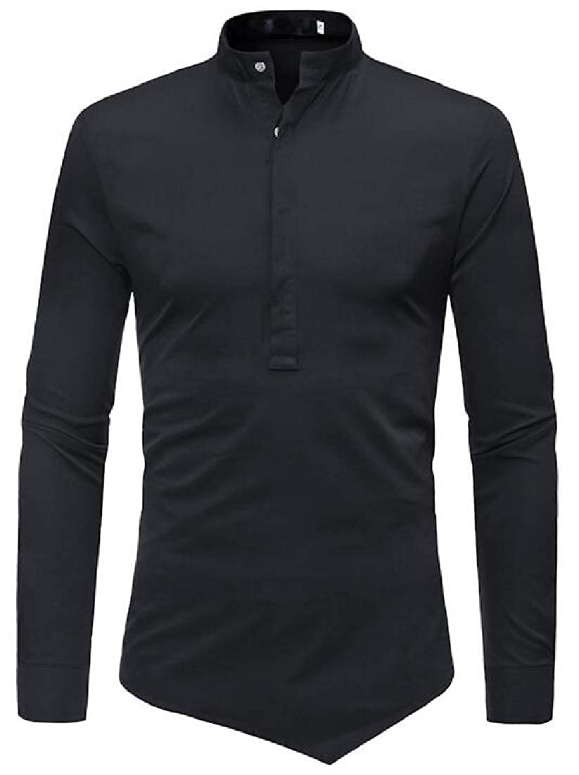 Fubotevic Mens Shirts Relaxed Fit Long Sleeve Casual Stand Collar Dress Work Shirt