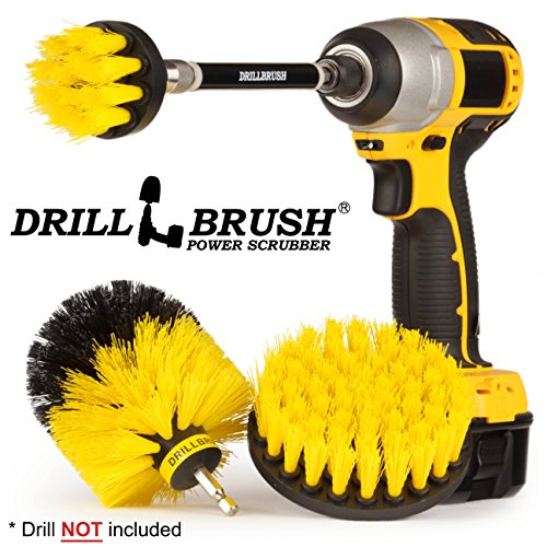 Drillbrush Electric Spin Scrubber Brush Kit for Bathroom Tub and Shower. Easy Tile Grout Cleaner Tool with Long Reach Extension Rod. Includes Three Different Size Replaceable Scrubber - Long Reach Brush