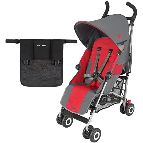Maclaren Quest Stroller With Organizer in Black - Charcoal/Scarlet