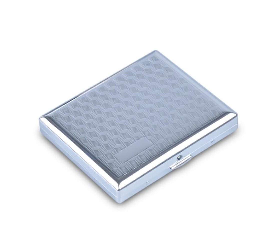 KALMAR Cigarette Case (20): Portable Simple Stainless Steel Cigarette Case, Electroplating Process, Size 9.5 8.0 1.8 cm, Gray Cigarette Box Cigar Protective Cover