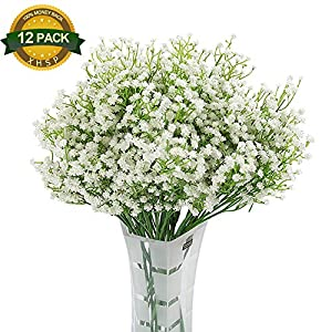 XHSP 12 Pack Baby Breath/Gypsophila Real Touch Artificial Plastic Flowers Bridal Bouquet Wedding Party Garden Decoration (White)