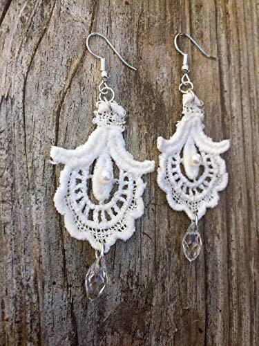 (Ivory Lace Chandelier Earrings -Handmade in USA, Off White Dangle Drop Earrings)