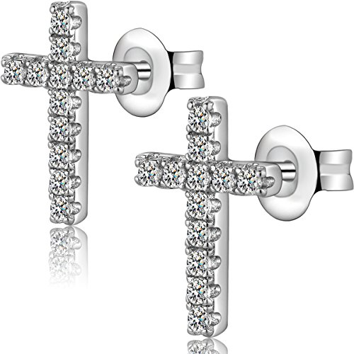 Platinum or Gold-Plated Sterling Silver CZ Diamond Religious Classic Mini Crucifix Cross Stud Earrings Gold Silver Plated Crucifix