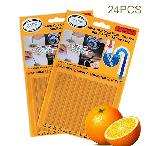 Drain Clog Remover Sticks, Kitchen Cleaner Sticks Keep Pipes Clean and Sink Odor Free Deodorizer for Kitchen Shower Sewer, Come with 24Pcs Drain Stopper (Orange)