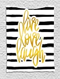 Ambesonne Live Laugh Love Tapestry, Romantic Design Hand Drawn Stripes Calligraphic Text, Wall Hanging Bedroom Living Room Dorm, 40 W X 60 L inches, Black White Earth Yellow