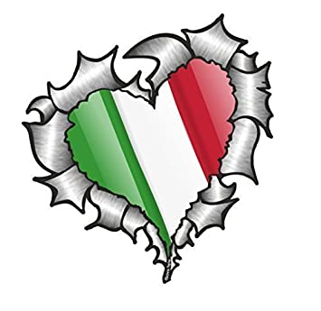 Heart Shaped Ripped Torn Metal Italy Italian Flag For Football Team