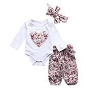 Newborn Baby Girls Floral Heart Peach Print Romper Long Pants with Bowknot Headband Outfit Set (0-6 Months, Style 5)