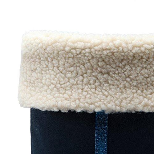 Allhqfashion Donna Tacco A Punta Chiusa In Pelle Scamosciata Con Tinta Unita, Stivali Solidi Di Alta Qualità Royalblue-knot