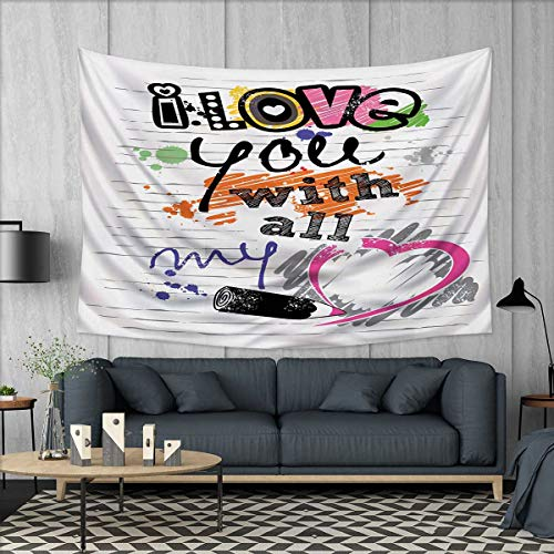 Anhuthree I Love You Wall Tapestry Valentines Love You with