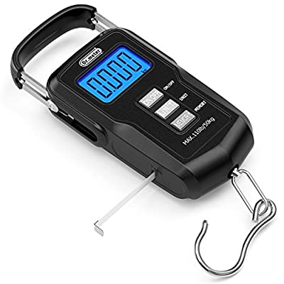 Dr.meter Upgraded FS01 Fishing Scale, 110lb/50kg Digital Hanging Scale with Backlit LCD Display, Measuring Tape and 2 AAA Batteries