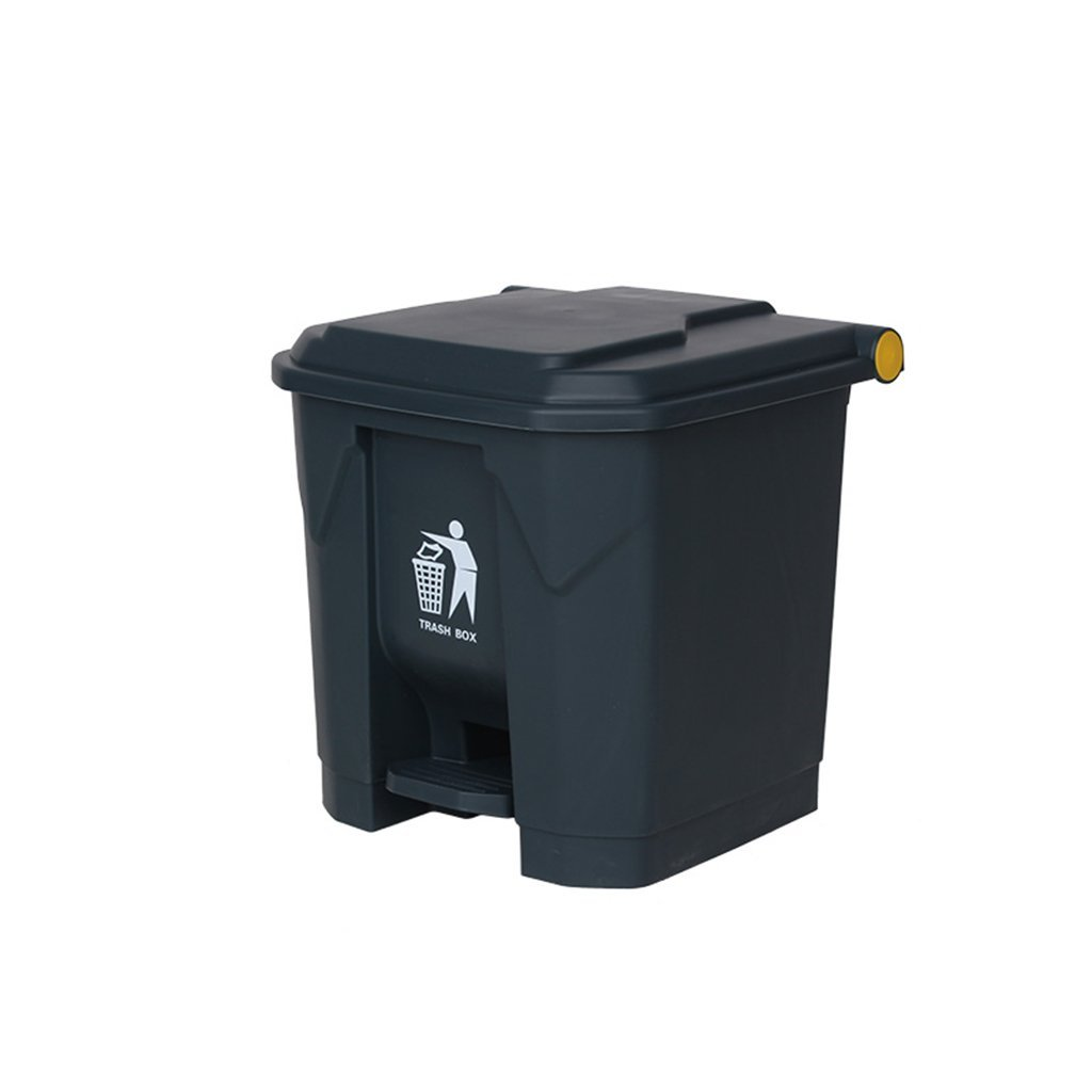Outdoor trash can CSQ, Hotel Large Household Trash Can Kitchen Covered Office Creative Footsteps Commercial 30L (Color : Gray)