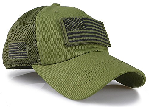(Camouflage Constructed Trucker Special Tactical Operator Forces USA Flag Patch Baseball Cap (Army Green))
