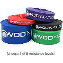 WOD Nation Pull Up Assist Band by for Pullup Assistance, Resistance Exercise, Stretch, Mobility Work & Functional Fitness + Video Workout Training & | 41 inch straps