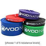 WOD Nation Pull up Assistance Bands Best for Pullup Assist, Chin Ups, Resistance Band Exercise, Stretch, Mobility Work & Serious Fitness - Single Band 41 inch Straps| 1 Purple Band 40-80 lbs