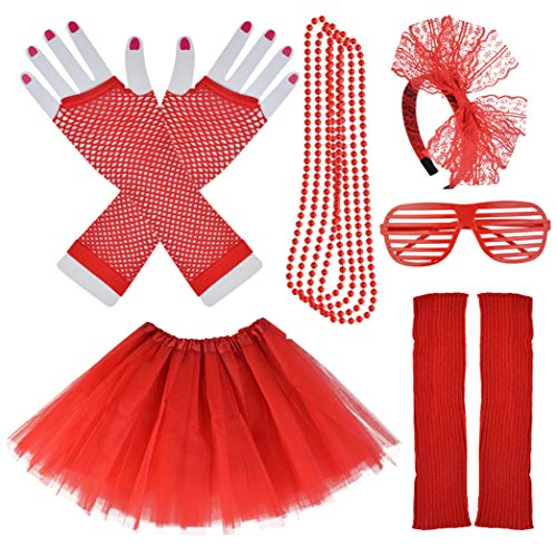 Miayon Kids 6 in 1 Costume Accessories 1970s 1980s Fancy Outfits and Dress for Cosplay Party Theme Party for Girl (red)