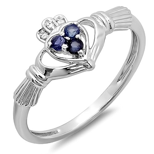 10K White Gold White Diamond & Blue Sapphire Bridal Irish Love Claddagh Heart Promise Ring (Size 7)