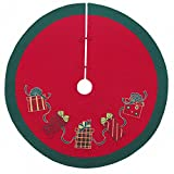 54'' Quilted Christmas Tree Skirt, Embroidered Gift Boxes Design