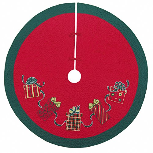 54'' Quilted Christmas Tree Skirt, Embroidered Gift Boxes Design by C&F Home (Image #2)