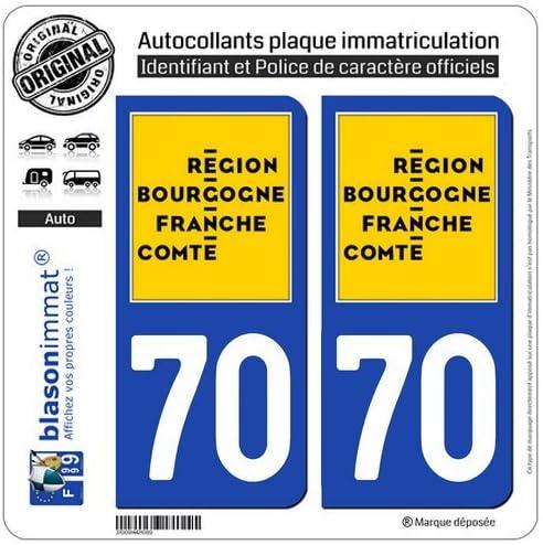 Logotype blasonimmat 2 Autocollants Plaque immatriculation Auto 70 Bourgogne-Franche-Comt/é