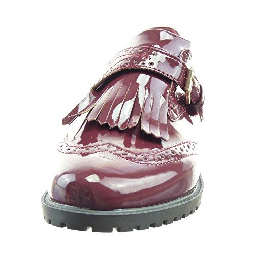 Sopily - Chaussure Mode Mocassin Ballerine Cheville femmes perforée boucle verni Talon bloc 3 CM - Rouge