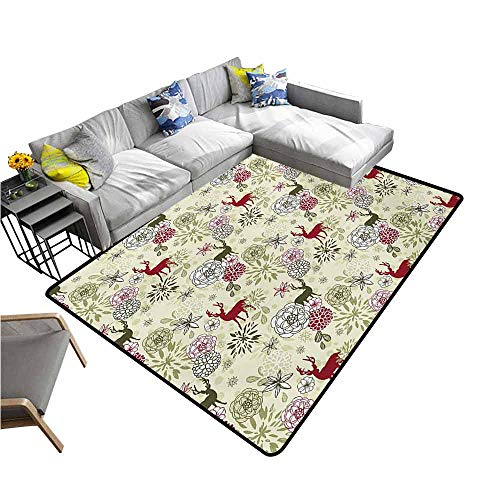 Kitchen Mat Winter,Deer Silhouettes with Blossoming Flowers Abstract Christmas Nature,Pale Green Olive Green Ruby 80