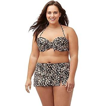 FHTD Bikini para Mujer con Estampado XL, Bikini con Falda Dividida ...