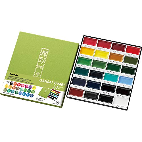 Kuretake GANSAI TAMBI Watercolor 24 Colors Set, Handcrafted, Professional-Quality Pigment Inks for Artists and Crafters, AP-Certified, Blendable, Show up on Dark Papers, Made in Japan
