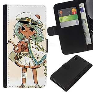 Be-Star la tarjeta de Crédito Slots PU Funda de cuero Monedero caso cubierta de piel Para Sony Xperia Z2 D6502 ( Captain Kids Drawing Smoking Gold )