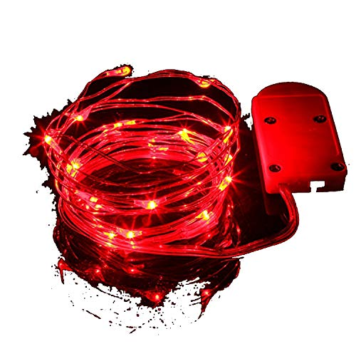 Christmas Lights 1M/2M Waterproof Copper Mini Fairy String Light Decoration Lamp for Home Wedding Operated by CR2032 Battery,Red,2M 20LEDS -