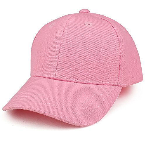 Trendy Apparel Shop Plain Infants Size Structured Adjustable Baseball Cap - Pink (Toddler Hat Pink)