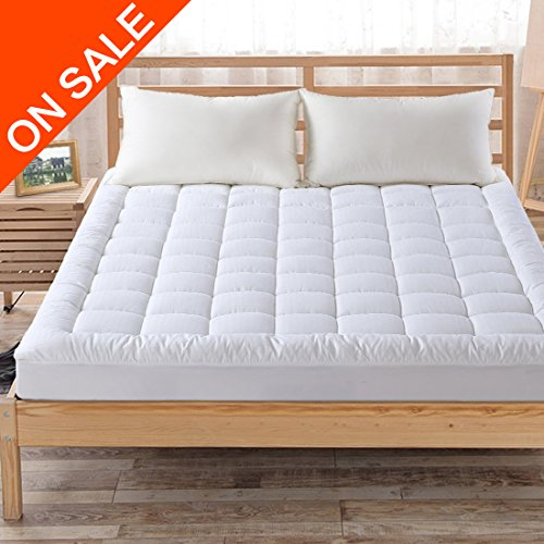 Hypoallergenic Quilted Mattress Pad Cover with 300TC 100% Cotton Down Alternative Filled Mattress Topper,8-21 Inch Deep (Quilted Top Bedding)