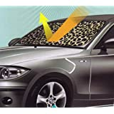 Tan Beige Leopard Animal Print Car Truck Front Windshield Auto Accordion Style Sunshade - Jumbo Size