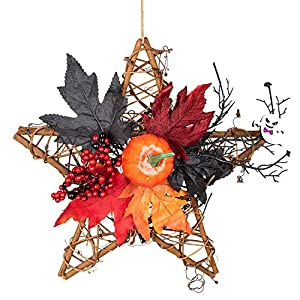 Halloween Wooden Five-Star Wall Hanging Artificial Flower Decoration Wreath