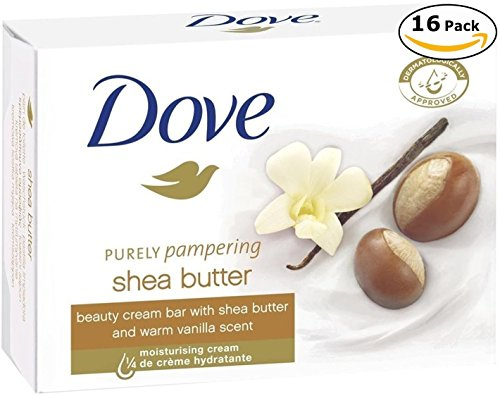 Dove Beauty Cream Bar Soaps Purely Pampering Shea Butter 16 Bars, 4.76 Ounce/135 Grams Each