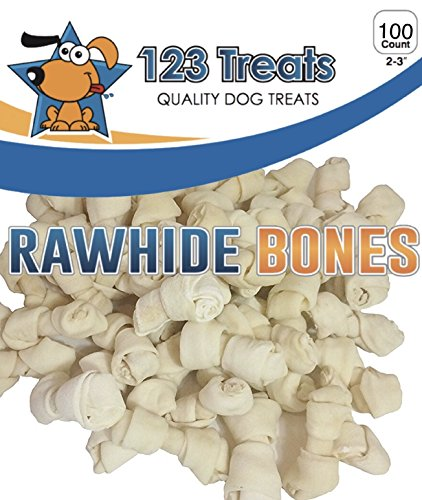 123 Treats Rawhide Bones for Small Dogs 2-3 Inches Dog Chews Packed in The USA from Natural Grass Fed Cattle – USDA FDA Approved
